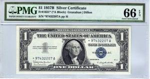 Fr.1621* $1 1957 B STAR PMG GEM Uncirculated 66 EPQ