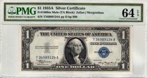 Fr.1608m $1 1935 A T-A Block Mule PMG Choie Uncirculated 64 EPQ