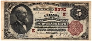 $5 1882 The Chase National Bank of the City of New York ,CH# 2370 Very Fine