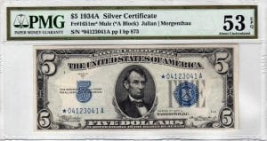 Fr.1651m* $5 1934 A Mule STAR PMG About Uncirculated 53 EPQ