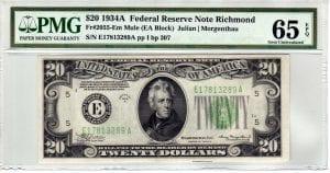 Fr.2055-Em $20 1934 A Richmond  Mule  PMG GEM Uncirculated 65 EPQ