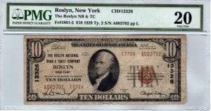 $10 1929 The Roslyn National Bank and Trust Company Roslyn , New York CH# 13326