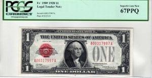 Fr.1500 $1 1928 PCGS Superb GEM New 67 PPQ
