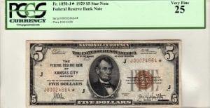 Fr.1850-J* $5 1929 Kansas City PCGS Very Fine 25