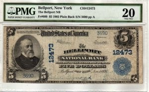 $5 1902 Plain Back The Bellport National Bank Bellport, NY CH# 12473 PMG VF 20