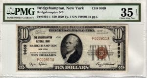 $10 1929 The Bridgehampton National Bank Bridgehampton, NY CH# 9669 PMG Very Fine 35 EPQ