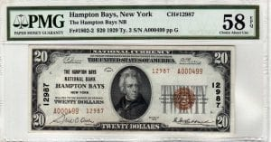 $20 1929 The Hampton Bays National Bank Hampton Bays, NY CH# 12987 PMG 58 EPQ