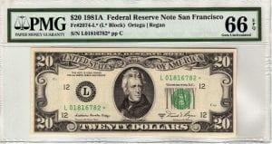 Fr.2074-L* $20 1981 A San Francisco STAR GEM CU
