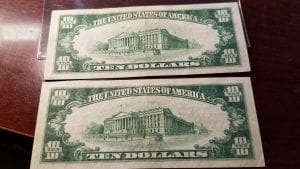 2 Consecutive $10 Type 2 1929 The Wyoming National Bank of Wilkes Barre PA CH# 732 CH-AU