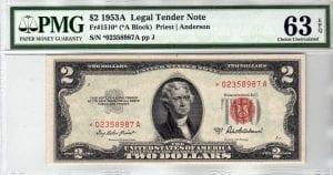 Fr.1510* $2 1953 A STAR PMG Choice Uncirculated 63 EPQ