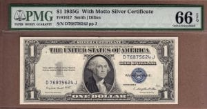 Fr.1617 $1 1935 G With Motto PMG GEM Uncirculated 66 EPQ