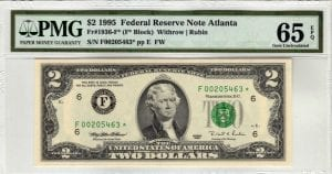 Fr.1936-F* $2 1995 Atlanta Star PMG GEM Uncirculated 65 EPQ