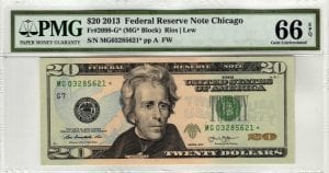 Fr.2098-G* $20 2013 Chicago Star PMG GEM Uncirculated 66 EPQ