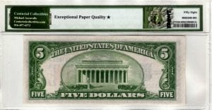 Fr.2307 $5 1934 A North Africa Silver Certificate PMG Choice About Uncirculated 58 EPQ *