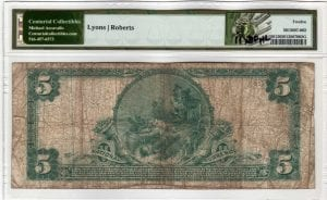 $5 1902 PB The First National Bank of Huntington NY CH# 6587 PMG Fine 12