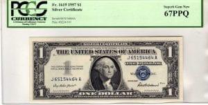 Fr.1619 $1 1957 J-A Block PCGS Superb GEM New 67 PPQ