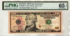 Fr.2042-L* $10 2013 San Francisco STAR PMG GEM 65 EPQ
