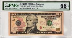 Fr.2042-L* $10 2013 San Francisco STAR PMG GEM 66 EPQ