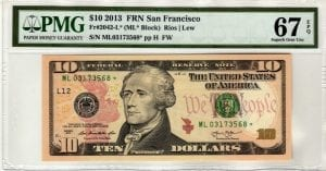 Fr.2042-L* $10 2013 San Francisco STAR PMG Superb GEM 67 EPQ