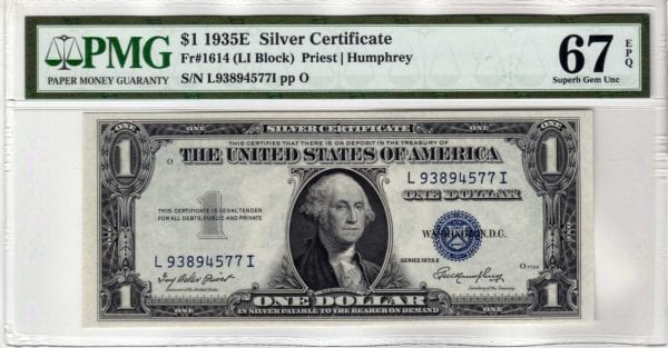 Fr.1614 $1 1935 E L-I Block PMG Superb GEM 67 EPQ