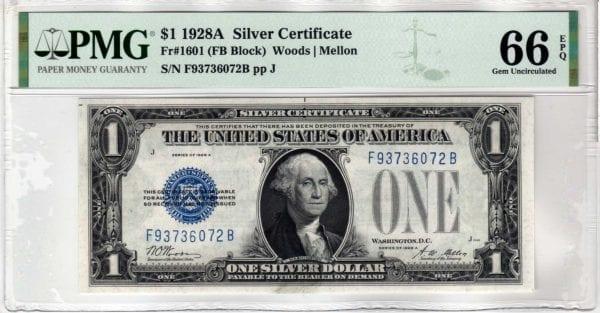 Fr.1601 $1 1928 A F-B Block PMG GEM 66 EPQ
