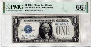 Fr.1600 $1 1928 C-A Block PMG GEM 66 EPQ