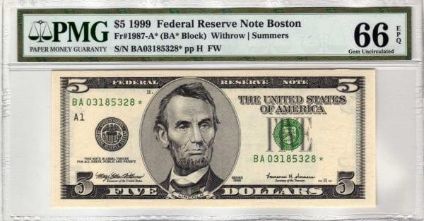 Fr.1987-A* $5 1999 Boston Star PMG GEM Uncirculated 66 EPQ