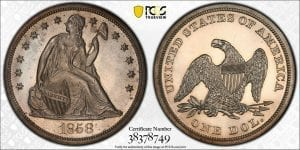 1858 Seated Liberty Dollar $1 PCGS PR 63 Prized Proof-Only Issue!!!