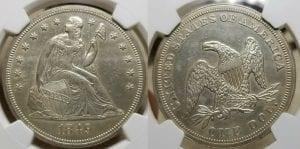 1849 $1 Liberty Seated Silver Dollar NGC MS 62