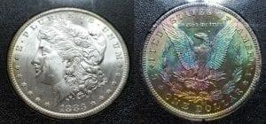 $1 1883 CC Monster Rainbow Toned Morgan Silver Dollar GSA W/Box Original Papers