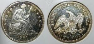 1860 O $1 Seated Liberty Dollar ANACS MS 60 DMPL Amazing !!