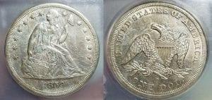 1859 O $1 Seated Liberty Silver Dollar ICG MS 61