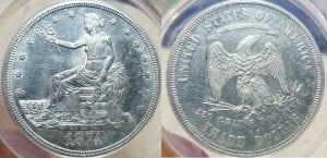 1874 CC Trade Silver Dollar $1 ANACS MS 60 Problem Free