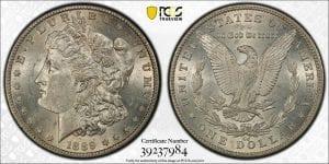 $1 1889 CC Morgan Silver Dollar PCGS MS 62