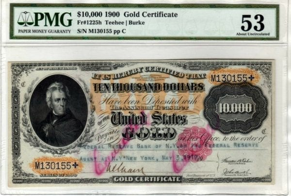 Fr.1225h $10000 1900 Gold Certificate PMG 53 Ink Cancelled Not Punched RARE!!!