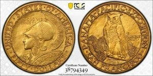 1915 S $50 Panama-Pacific 50 Dollar Gold Round PCGS UNC. Details Altered Surface