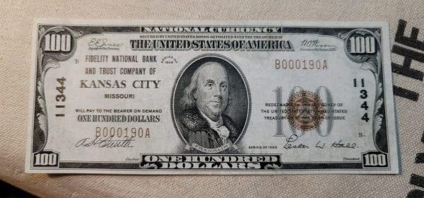 $100 1929 Fidelity National Bank & Trust Company of Kansas City MO CH#11344 AU++